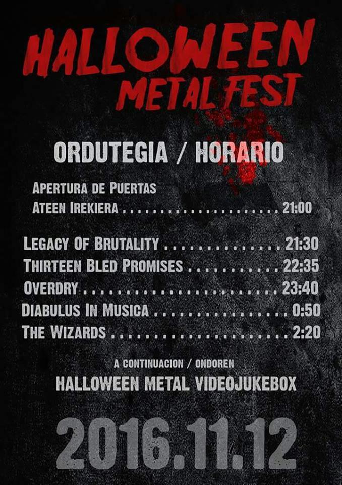 Halloween Metal Fest, ordutegiak.