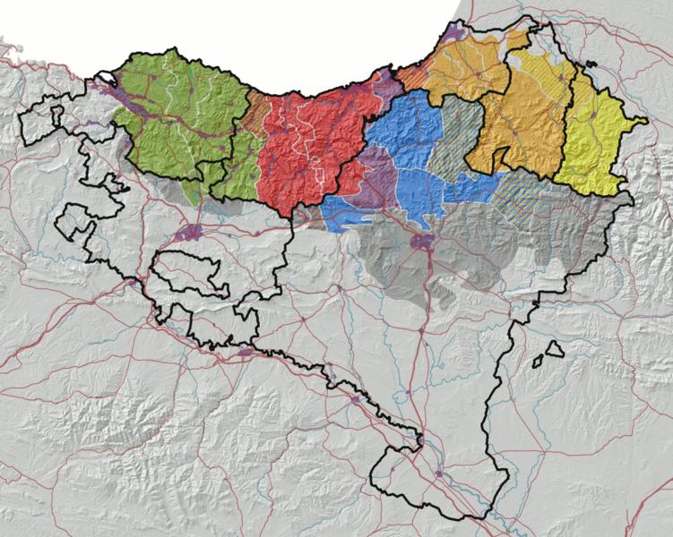 Koldo Zuazoren euskalkien mapa